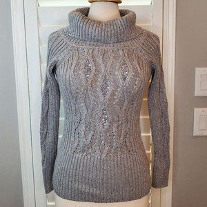 WHBM Gray Cable Knit Turtleneck Womens Sweater Top